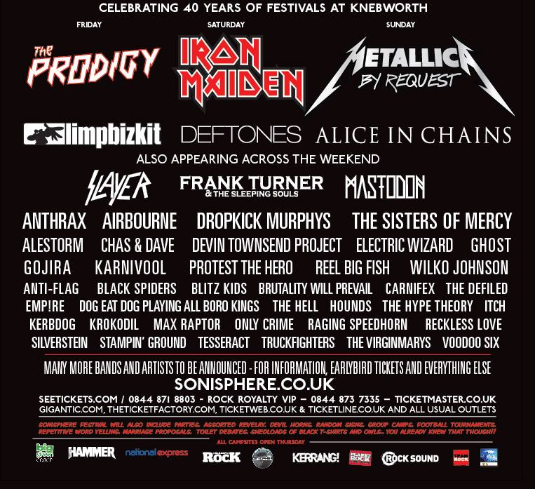Sonisphere Festival 2014 line-up: Special guests and nine other ...