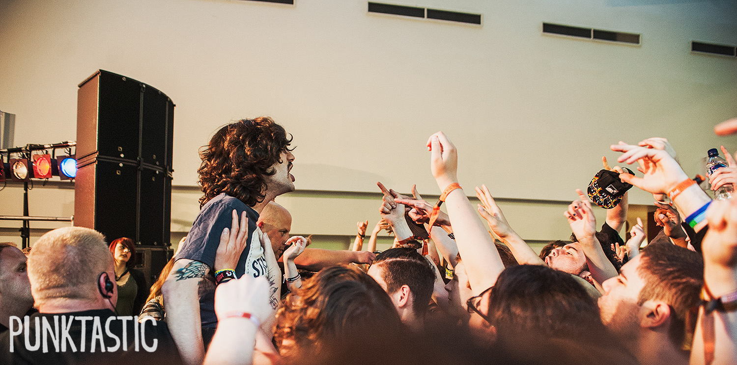 Real Friends getting up close and personal with the crowd.